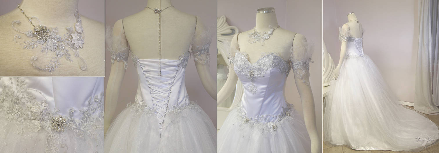 White and Silver Wedding Gown