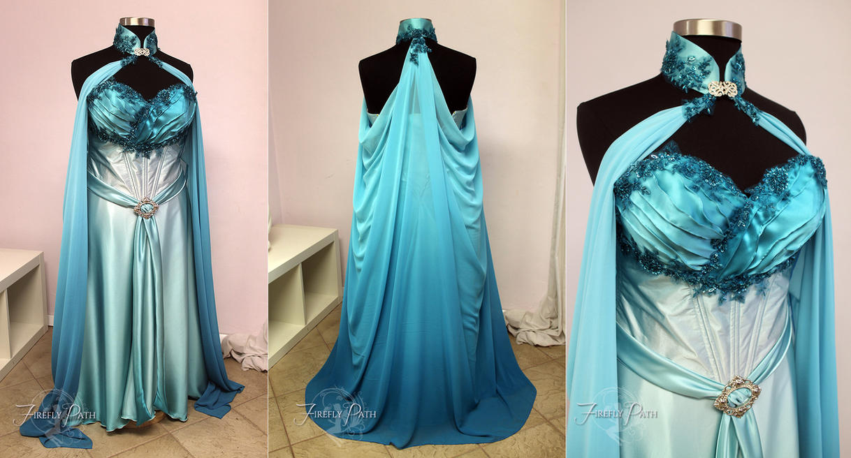 Elven Bridal Gown in Blue and Aqua by Lillyxandra