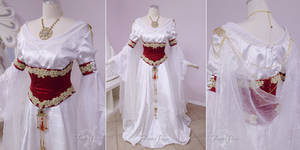 White and Crimson Medieval Gown by Firefly-Path