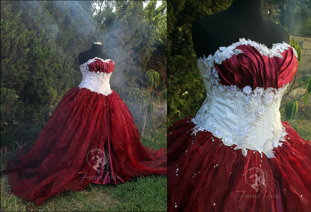 Snow White and Red Wine Bridal Gown by Firefly-Path on DeviantArt