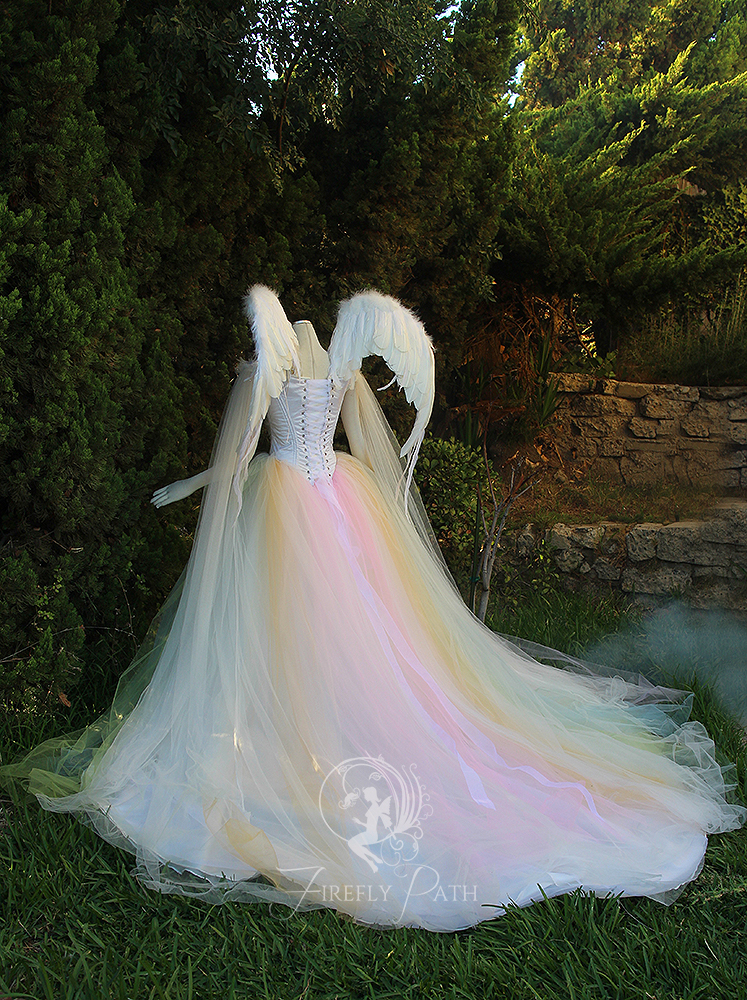 Angelic rainbow bridal gown and wings back view by firefly for Angel wings wedding dress