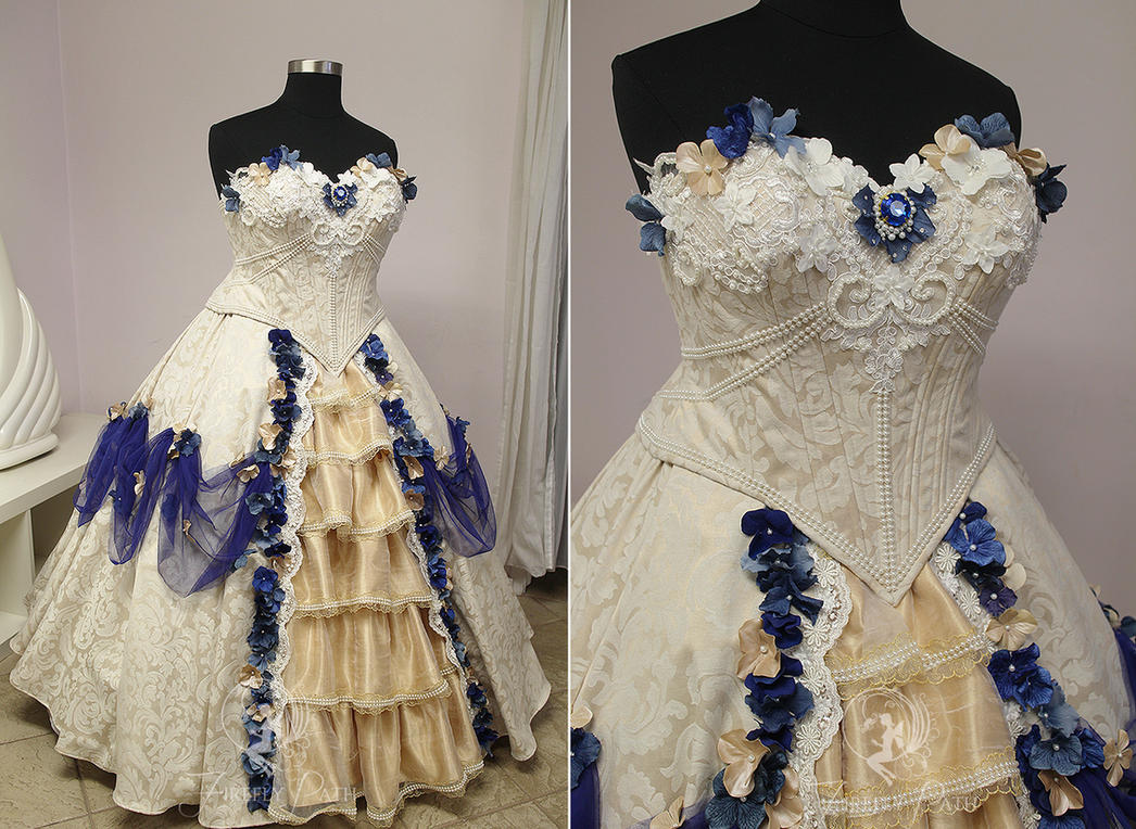 Cream And Royal Blue Bridal Gown By Firefly Path On Deviantart
