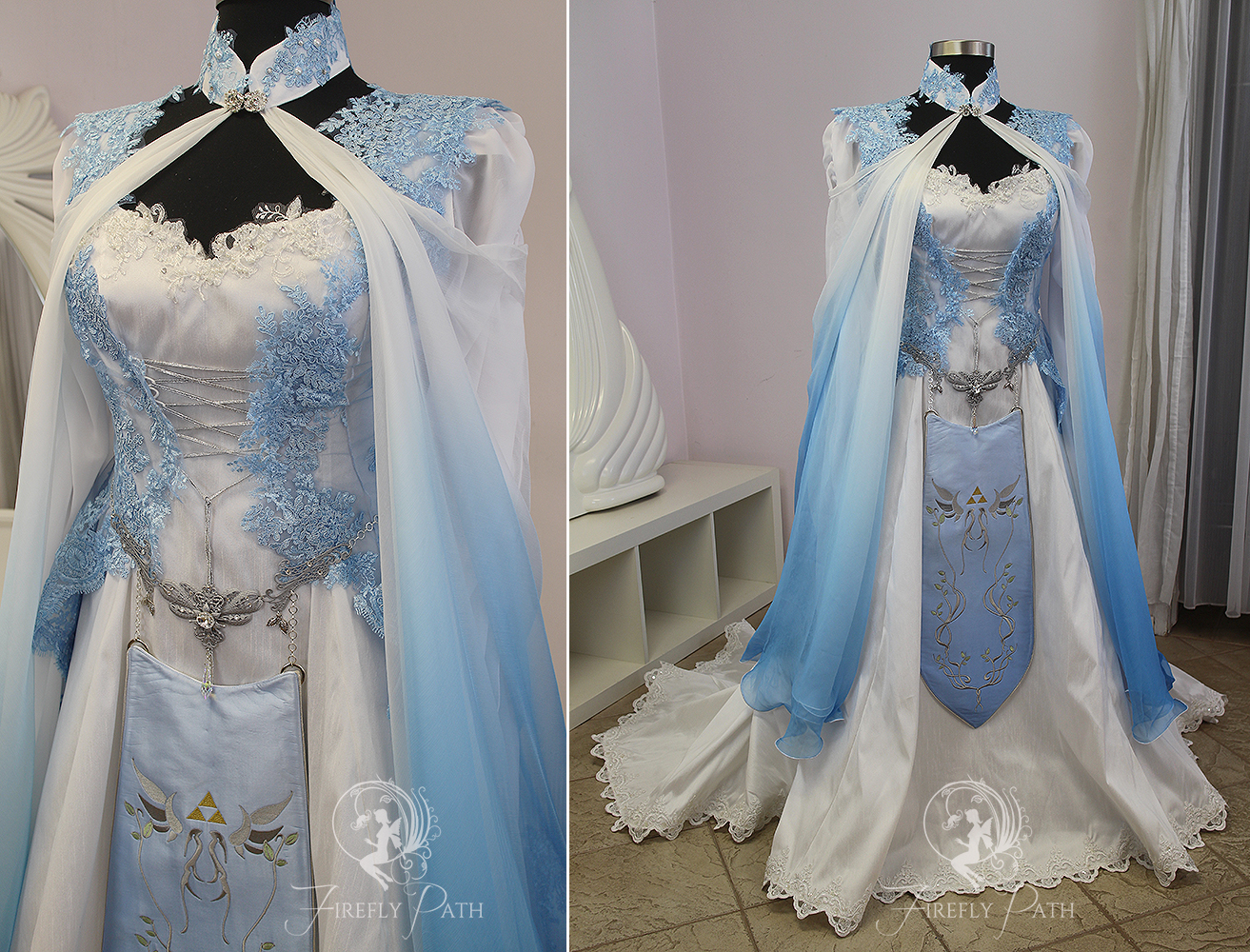 Blue zelda bridal gown by firefly path on deviantart for Elven inspired wedding dresses