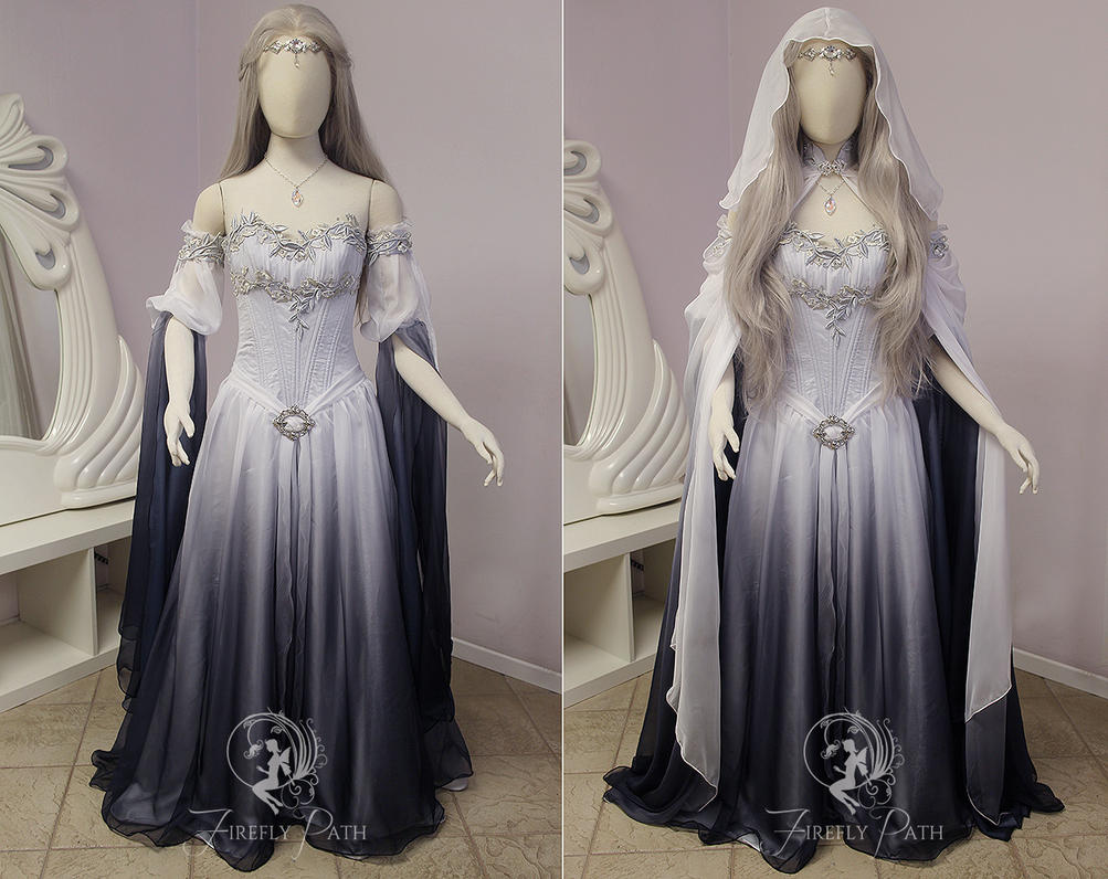 Silver shadow elven gown sleeve view by firefly path on for Elven inspired wedding dresses