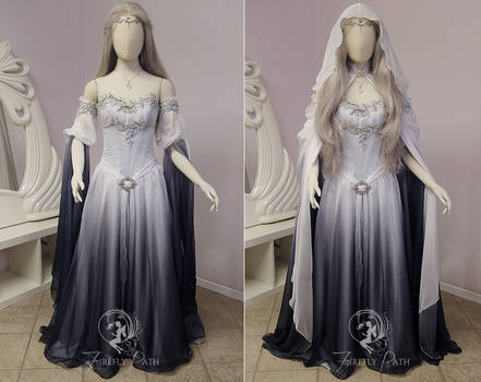 Silver Shadow Elven Gown (sleeve view) by Firefly-Path