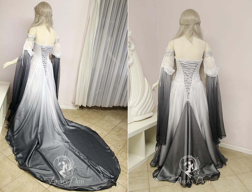 Silver Shadow Elven Gown Back View By Firefly Path On