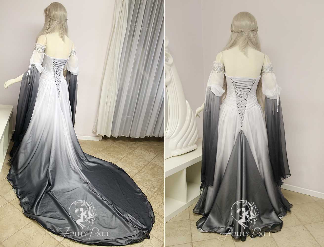 Silver Shadow Elven Gown (back view)