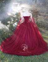 Maroon Bridal Gown (Back View) by Firefly-Path