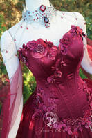 Maroon Bridal Gown (Details) by Firefly-Path
