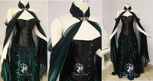 Two-tone Mesh Elven Cape and Skirt