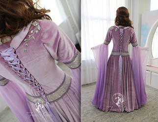 Lilac Medieval Gown (Back View) by Firefly-Path