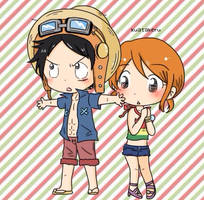 Luffy x Nami in Strong Wolrd movie by K-U-A