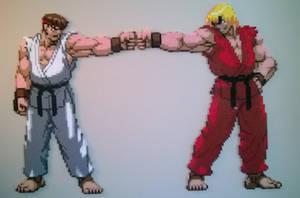 Ryu and Ken fist bump perler. by Bgoodfinger