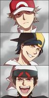 Male protagonists's battle faces