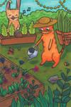 Cat And Bunny Gardening