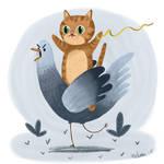 Cat Riding a Pigeon
