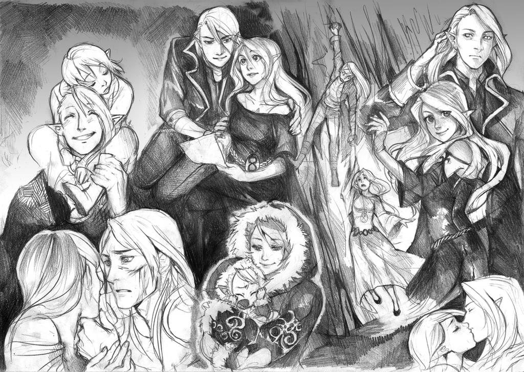 Artemis and Draven sketchpage by Razuri-the-Sleepless