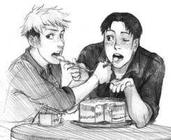 Sharing a cake by Razurichan