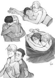 Hugs are important - Victuuri by Razurichan