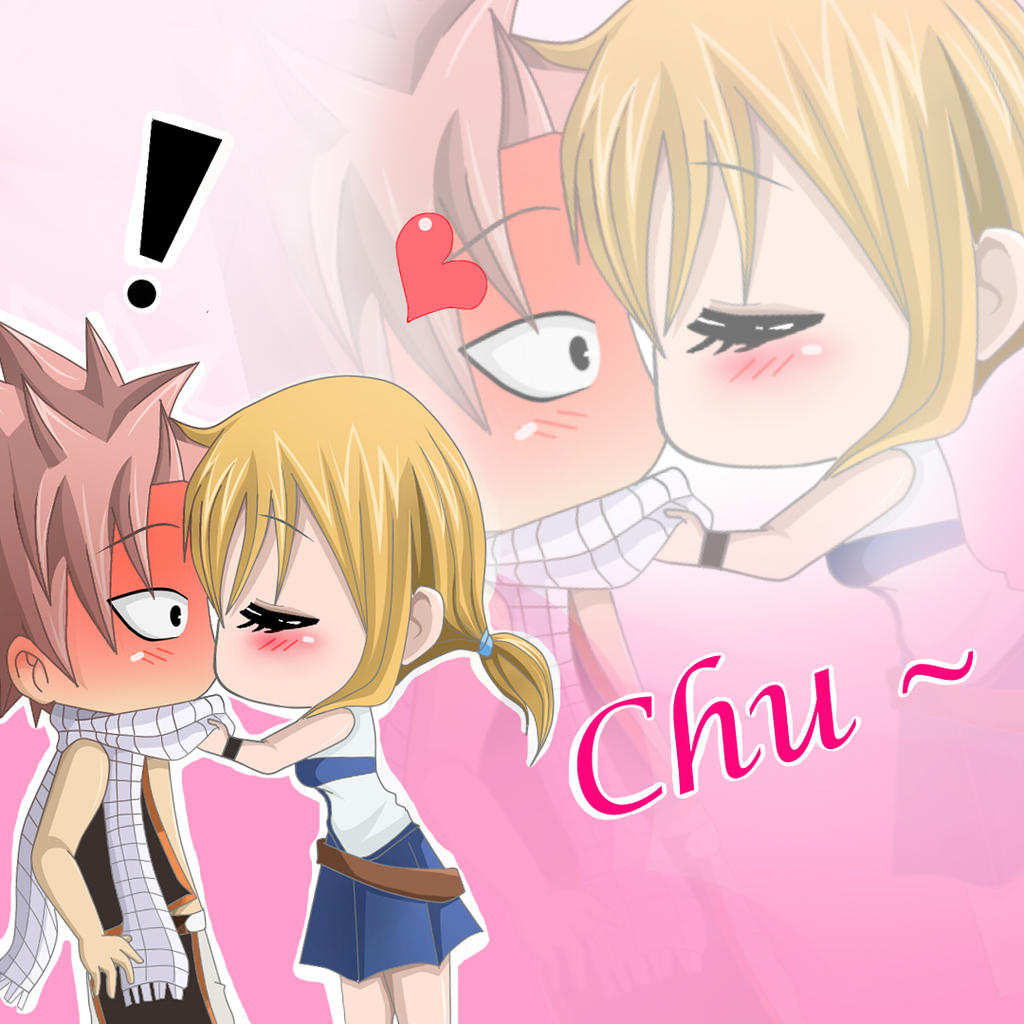 Natsu and lucy: chibi kiss by ichata on DeviantArt