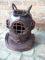 STEAMPUNK  LARGER FILE DIVE HELMET  FRONT by scratzilla