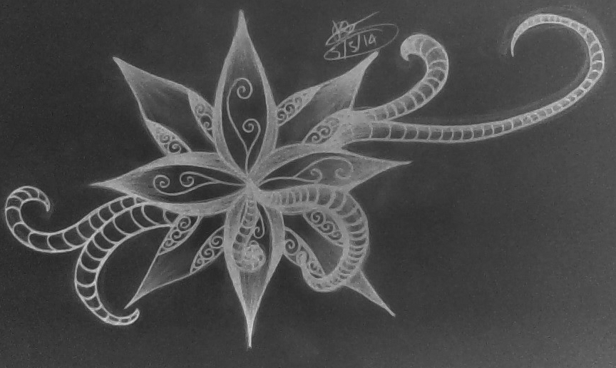 Abstract Flower Drawing Design Negative By