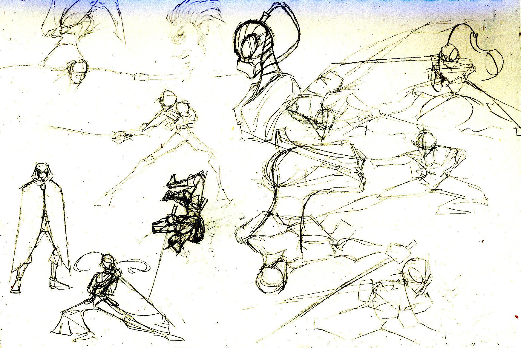 Dynamic sword poses