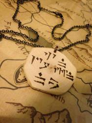 Dragon Script Wooden Pendant