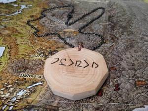 Dwemer Script Wooden Pendant