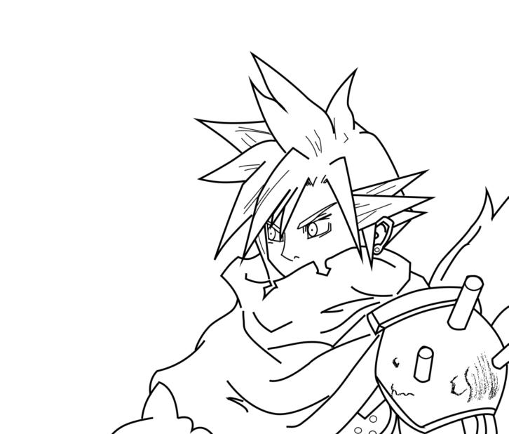 Kingdom Hearts Lineart : Kingdom hearts cloud lineart by infamousredstar on deviantart