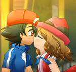 Pokemon- Ash y Serena, Amour beso/kiss
