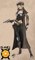 Steampunk Cyborg Cowgirl by jayodjick