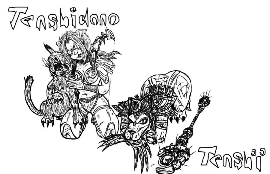 Tenshidono and Tenshi - Line Art by RLG4X