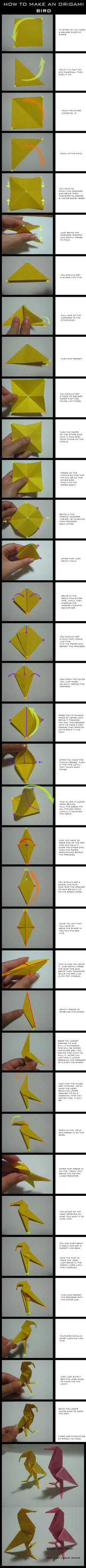 TUTORIAL: Origami Bird by DarkUmah