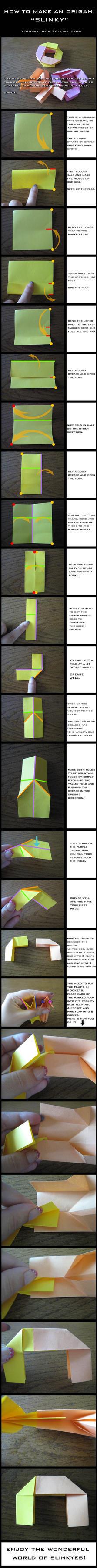 Tutorial: How to make an Origami Slinky by DarkUmah
