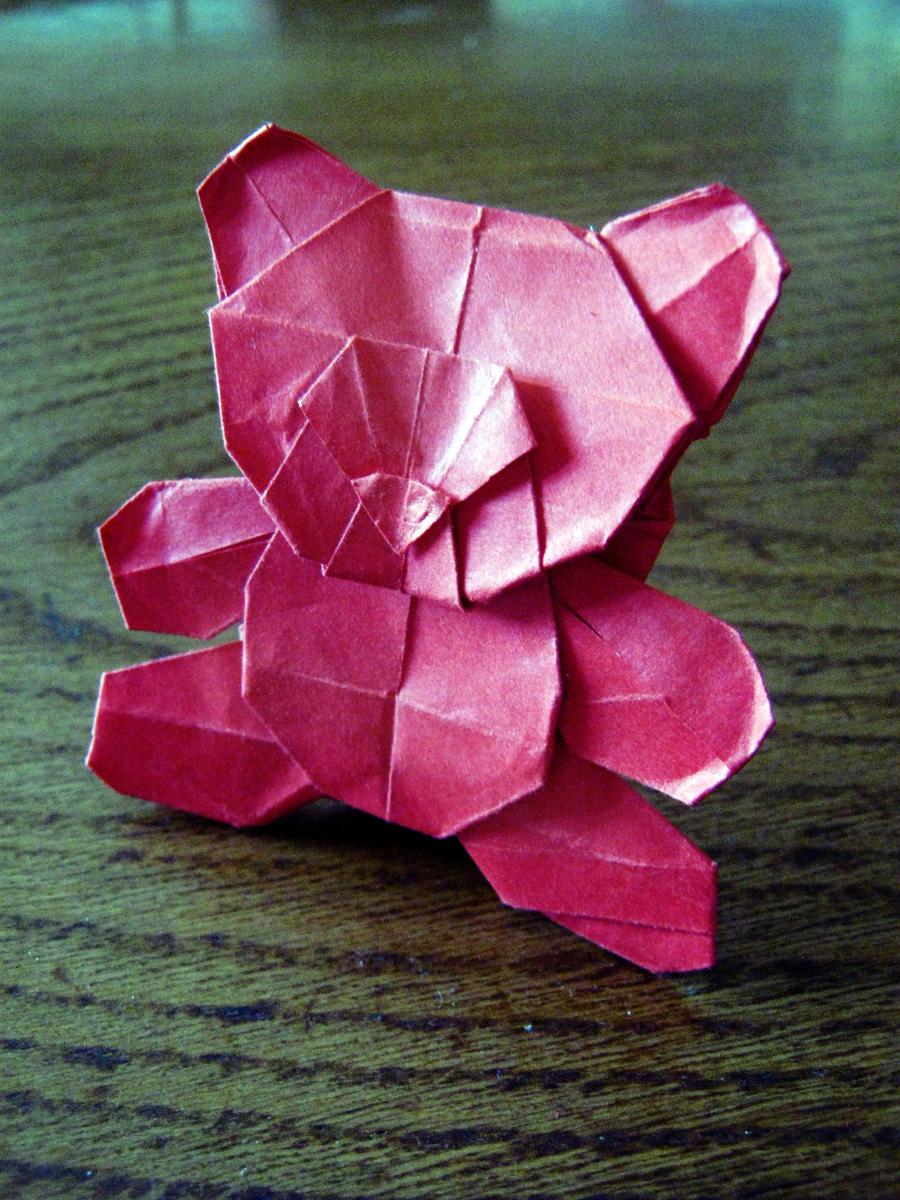 origami teddy bear by darkumah on deviantart