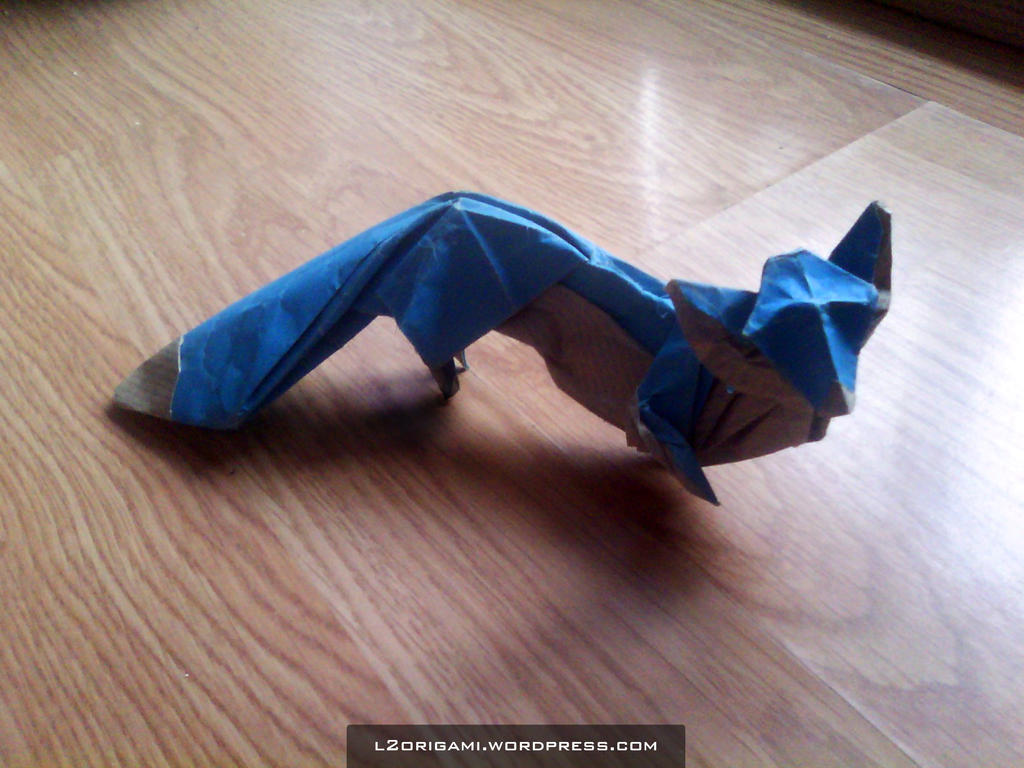 Origami Blue Fox by DarkUmah