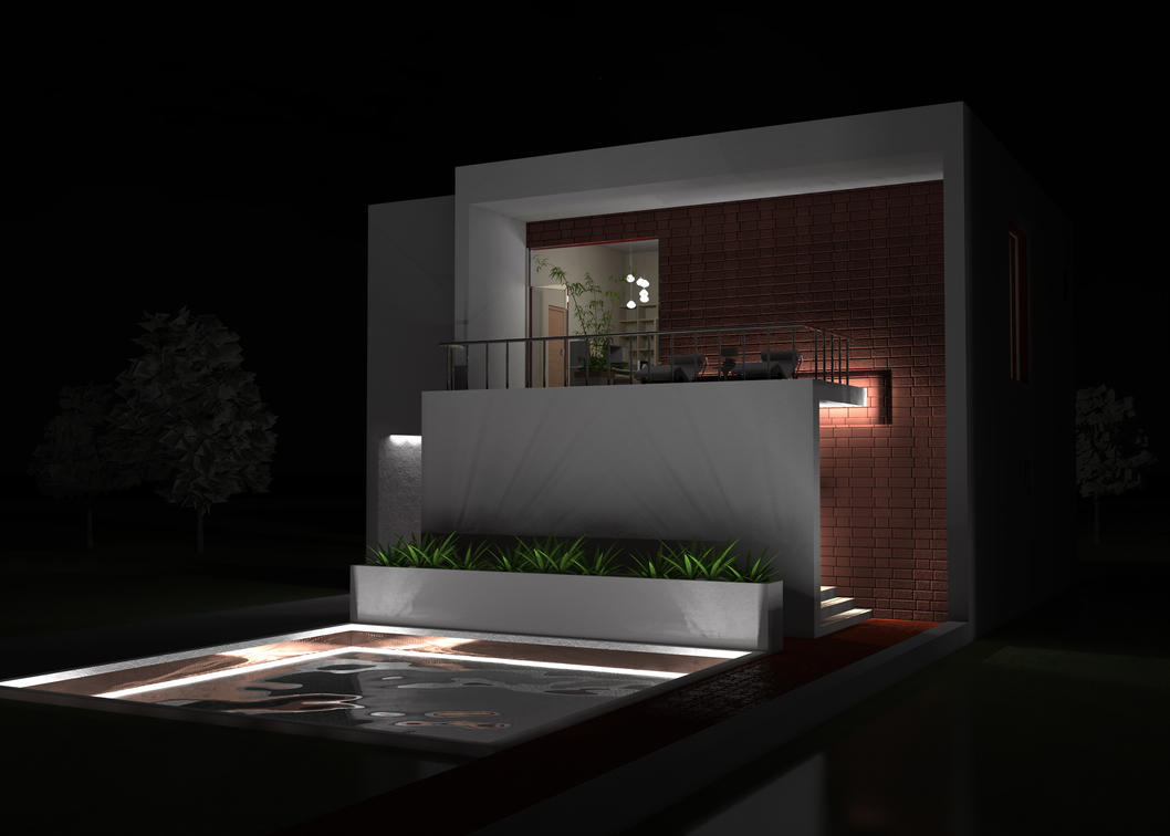 Modern minimalist house at night by darkumah on deviantart for Modern house at night