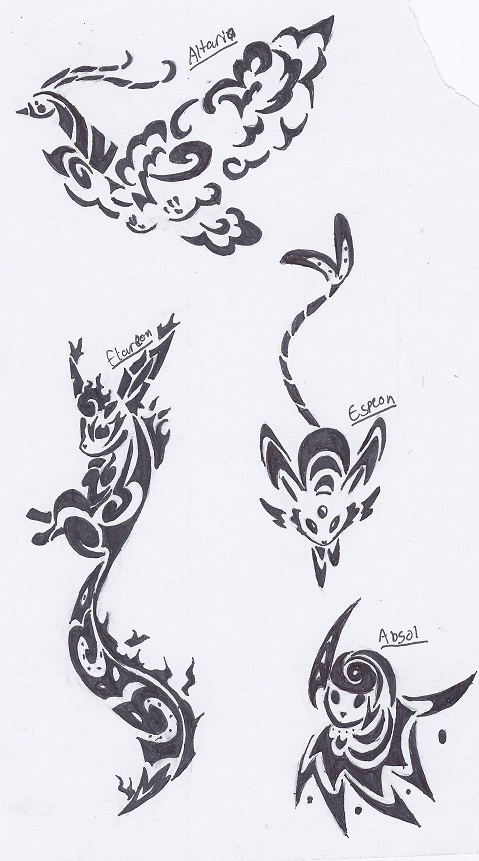 Altaria, Flareon, Espeon, and Absol Tribal Tattoos by Deer-Head