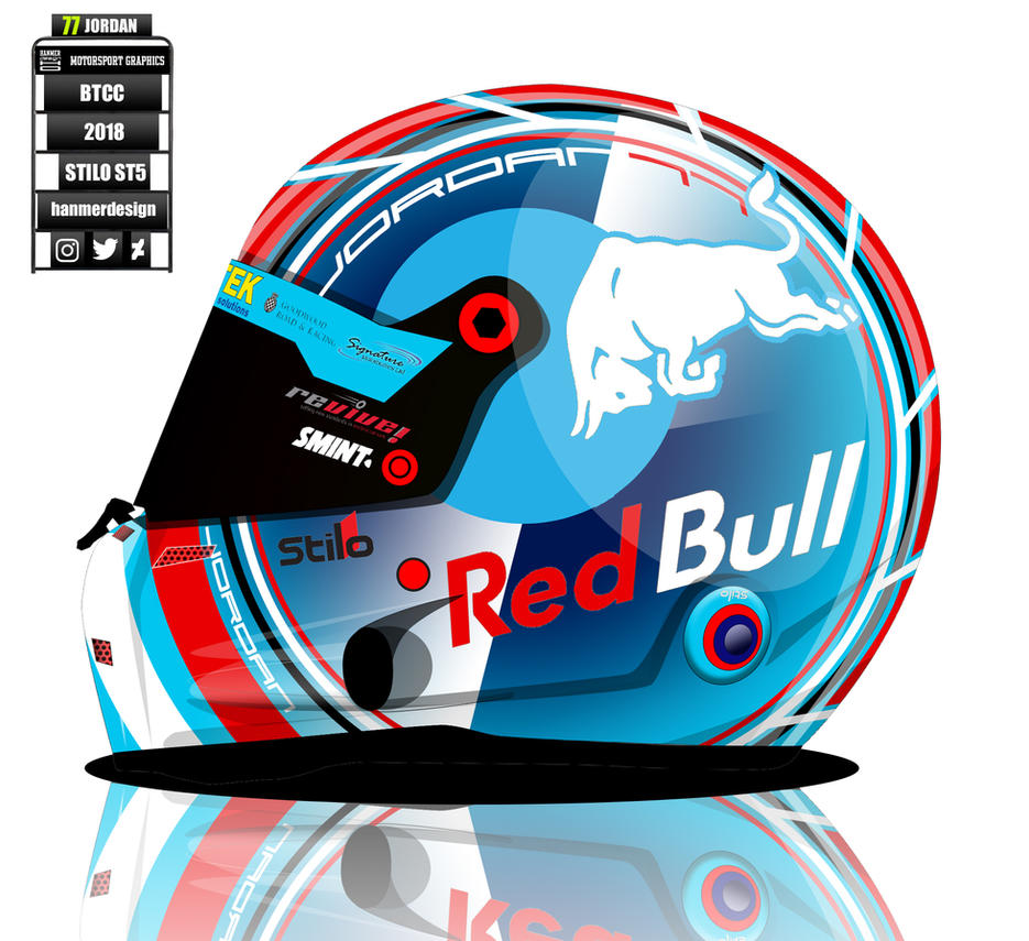 Andrew Jordan BTCC 2018 helmet concept by hanmer