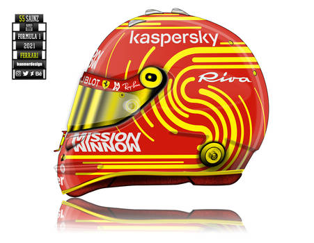 Carlos Sainz 2021 Ferrari f1 helmet concept.