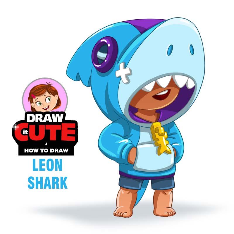 Bstars 15 How To Draw Shark Leon Brawl Stars By Drawitcute