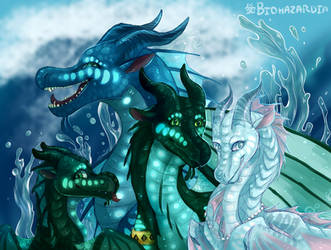 Wings of Fire - Royal SeaWing Siblings by Biohazardia