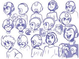 mega man head studies by RyanJampole