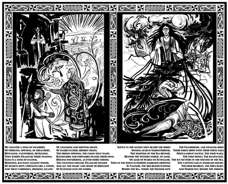 Magic duel Finrod vs Sauron by Kakomicly