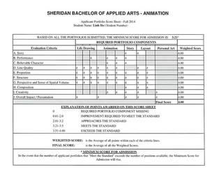 Sheridan Animation Portfolio - Score Sheet 4.0/4.0