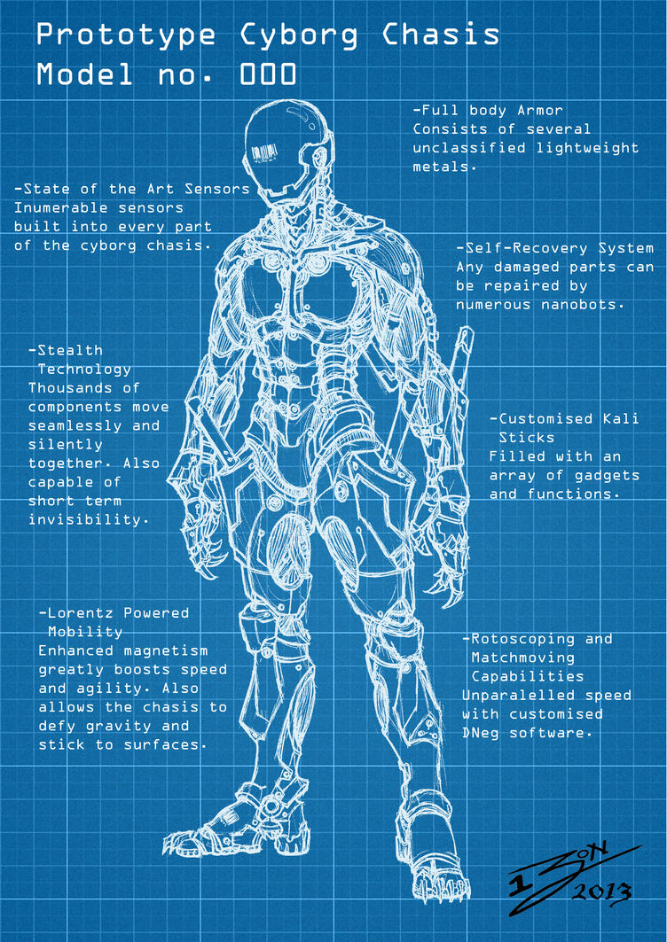 Cyborg blueprint by bigpoppa jon on deviantart for How to draw blueprints online
