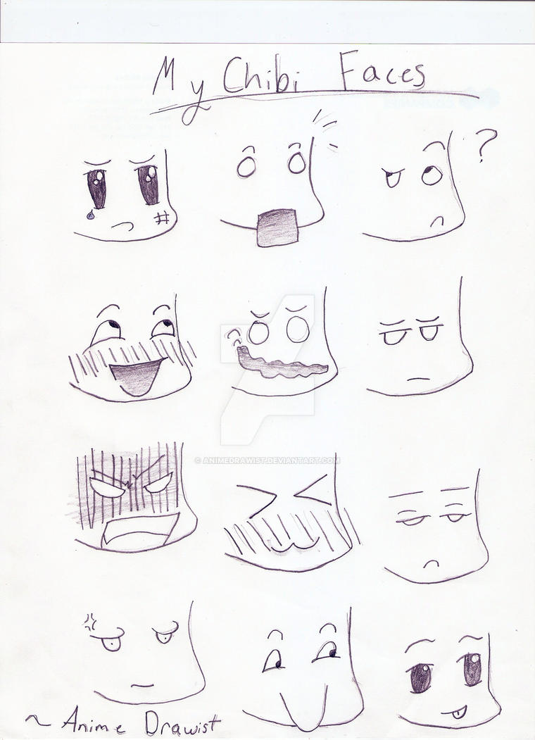 how to draw chibi faces