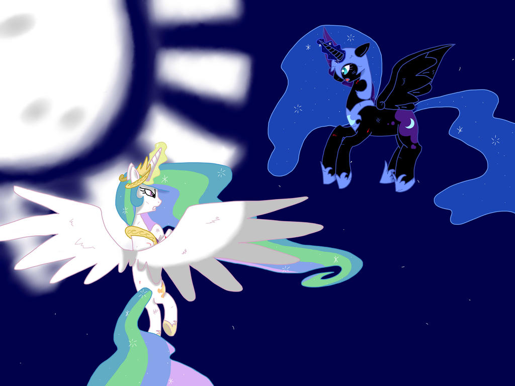 Princess Celestia vs Nightmare Moon by Silversan-Art