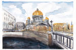 Watercolor cityscape drawing